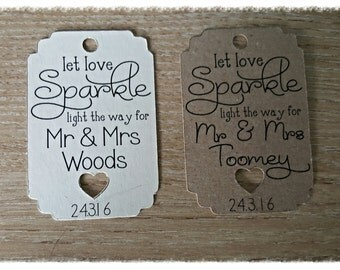 50 vintage wedding tags, Sparkler tags Rustic, Shabby chic style wedding stationery personalised tags,labels Wedding favours