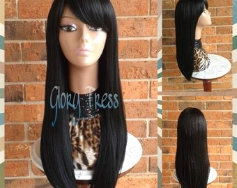 Ready To Ship // Long & Straight Full Wig, China Bangs/Side Swoop Bangs, Long Black Wig // RAVEN