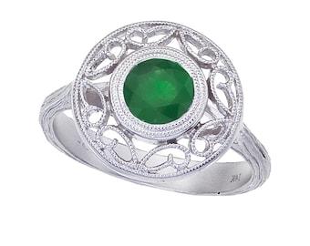 1.10 Carat Emerald Filigree Ring 14k White Gold - 6mm Emerald Ring - Gemstone Rings for Women - For her - Anniversary