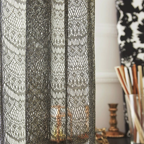golden black lace sheer voile net curtain drapery panel for