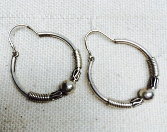 Embellished silver hoop earrings - handmade in Cairo