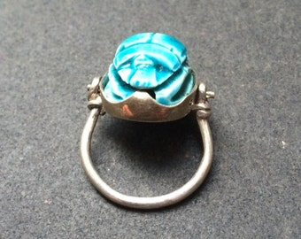Stone scarab beetle hinged silver ring
