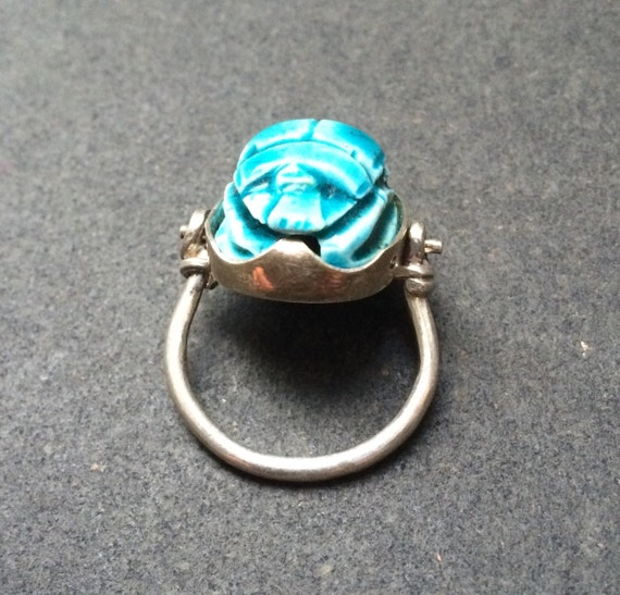 scarab beetle hinged silver ring