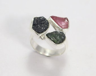 Natural Tourmaline Multi Colour 925 Sterling Silver Solid Silver Rough Nugged Hand Made precious Jewelry Ring Made By  Amore India R538