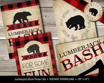 Lumberjack Bash Poster Set, Lumberjack Birthday Posters (Set of 4), Flannel Up Birthday Poster Set