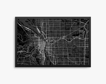 Portland City Street Map, Portland Oregon USA, Modern Art Print, Portland Office Decor, Portland Home Decor, Portland Map, Portland Poster