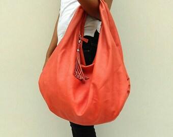 ORANGE Large hobo Bag, orange soft leather hobo bag, leather hobo bag, boho bag, hobo bag large, orange leather bag, hobo bag, orange hobo