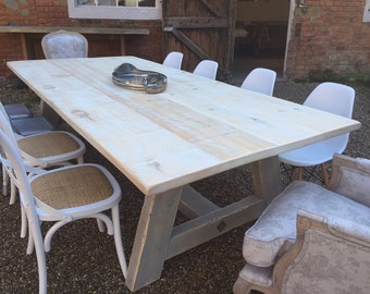 A Frame  bespoke handmade table from reclaimed wood Driftwood style Dove & Grey