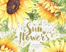 Sunflower Watercolor Flower clipart, Separate elements, Hand painted, DIY Clip Art, Summer Herb, floral invitation, greeting card, PNG files