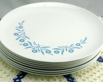 Vintage Corning Centura Cornflower Blue Dinner Plates - Set of 8