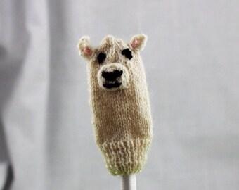 Lamb Knit Wool Finger Puppet   White
