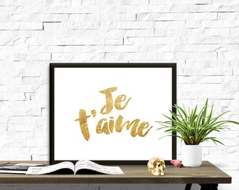 Golden Font Je t'aime Valentine's Day 8x10 inch Poster Print - P1164