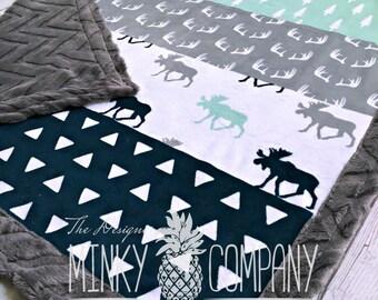 Moose Baby Blanket - Designer Faux Quilt Moose Minky - Charcoal