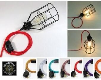 3m   Vintage Industrial Pendant Wire Cage Desk Side Lamp Light & Edison Filament Bulb   16 Colours