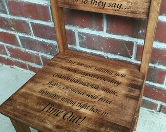 Toddler TIME OUT chair, time out, chair, personalized, wood burned, rustic, stained, keepsake