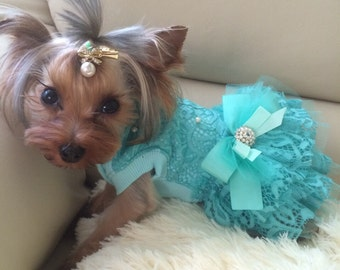 Designer turquoise dog dress Special occassion dog dress Wedding dog dress Cat dress Bithday dod Dog wedding attire