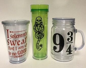 Harry Potter Tumblers, Dark Mark, platform 9 3/4, i solemnly swear that I am up to no good