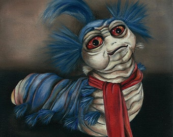 Labyrinth Worm Oil Painting Greetings Card
