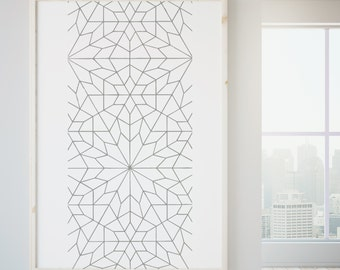 Pattern Print, Turkish Design Print, Intricate line drawing poster, textiles wall art