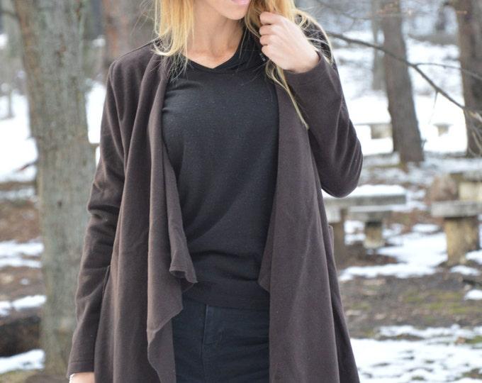 Extravagant Kasha Coat, Asymmetric Brown Coat, Wool Cashmere Blend, Large Side Pockets Jacket By SSDfashion