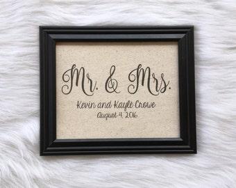 Mr. & Mrs. Personalized Wedding Gift, Cotton Anniversary, Housewarming, Second Anniversary, Cotton Fabric Print, Linen Anniversary, Bu