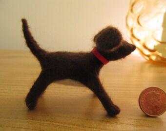 handmade needlefelt dog, miniature.