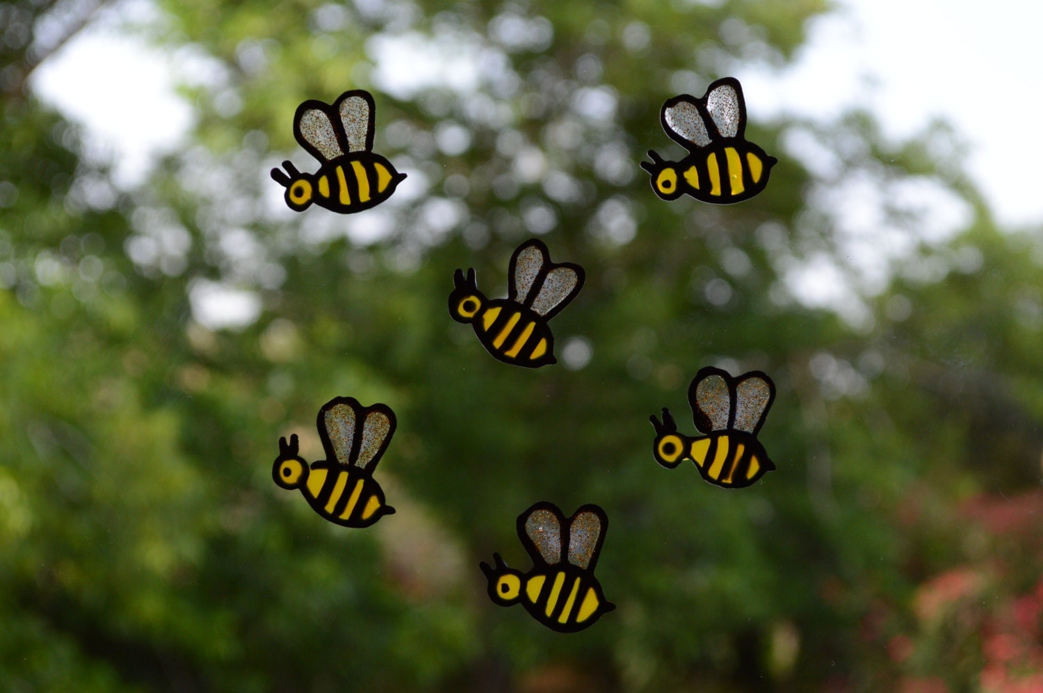 Bumble bee decals window decals bee decorations glass decal for Bumble bee mural