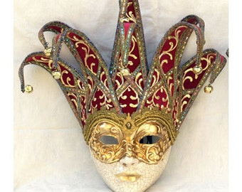 Joker Mask - Jester Masquerade Mask - Full Face Venetian Mask Gold and Red/ Gold and Blue -  home decor Jester, interior design mask F23/F24