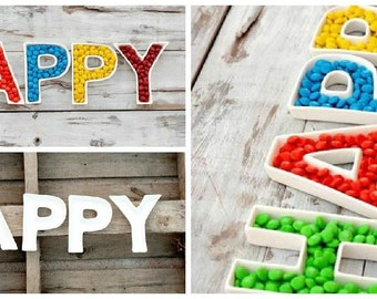 5 Ceramic Letter Dishes  for Kids/Adult Birthday parties