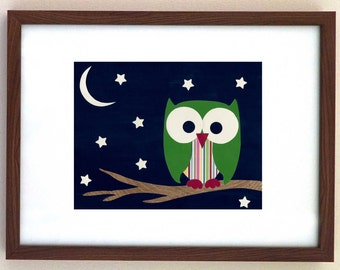 Kid's Room Decor, Woodland Creature, Owl, Wall Art