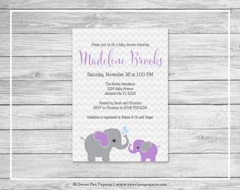 Elephant Baby Shower Invitation - Printable Baby Shower Invitation - Purple and Gray Elephant Baby Shower - Baby Shower Invitations - SP116