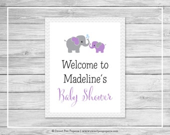 Elephant Baby Shower Welcome Sign - Printable Baby Shower Welcome Sign - Purple and Gray Elephant Baby Shower - EDITABLE - SP116