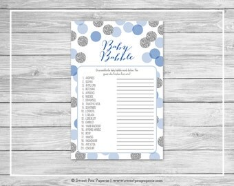 Blue and Silver Baby Shower Baby Babble Game - Printable Baby Shower Baby Babble Game - Blue and Silver Baby Shower - Word Scramble - SP124