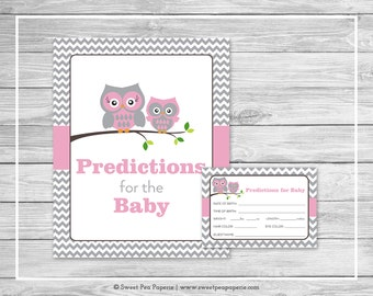Owl Baby Shower Predictions for Baby - Printable Baby Shower Predictions for Baby - Pink Owl Baby Shower - Baby Predictions - SP134