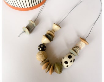 Handmade ceramic and stoneware bead necklace