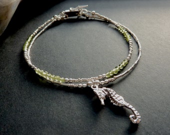 Sea Horse Two Strand Peridot and Silver Bracelet August Birthstone Bracelet