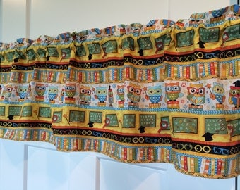 school days back to school owl curtain Valance