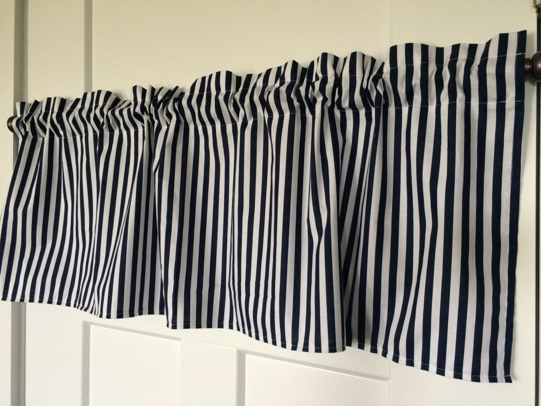Navy White Striped Nautical Kitchen Any Room Curtain Valance
