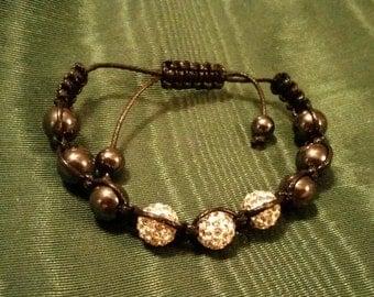 Hematite Finish and Crystal Rhinestone Bead Adjustable Bracelet on Woven or Knotted Black Cord