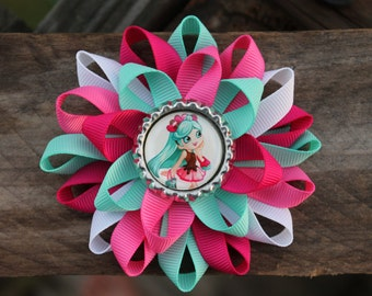 Shopkins hair bow, shopkins bow, Shoppie hair bow, Peppa Mint shopkins, shoppie, shopkins, girls hair bow, hair bow, shopkins inspired bow