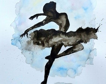 "Original Ballerina Painting 11""x14"" India ink"
