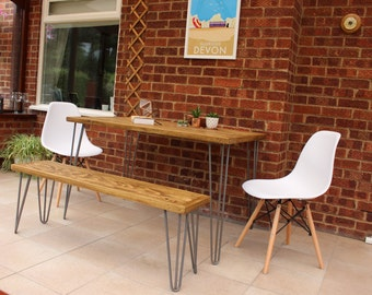 Reclaimed Pallet And Oak Wood Dining Table with Industrial Hairpin legs Including Bench and Eames Style Chairs -