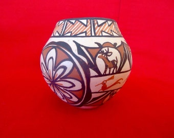 ZUNI NATIVE AMERICAN Pottery Bowl Signed by Jennie Laate Vintage