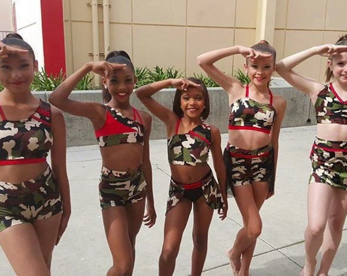 Camo Dance Costume. Jazz camo dance costume, group jazz Dance Costume, Custom Dance Costume. dance costume for competition