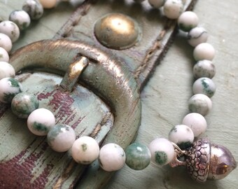 Tree agate with acorn charm