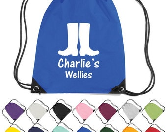 Personalised Wellies Themed Drawstring Bag. Nursery, School, Craft Bag  * Free Delivery *