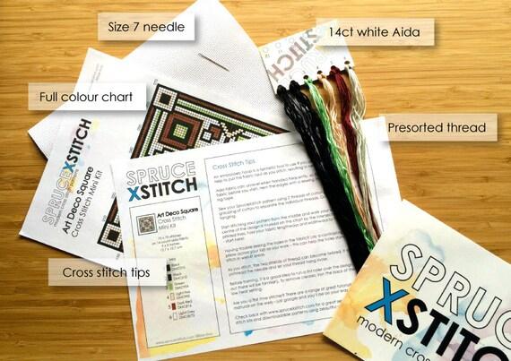 cross stitch kit art deco modern diy kit from sprucecraftco on etsy studio. Black Bedroom Furniture Sets. Home Design Ideas