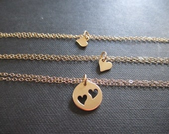 Mother and 2 Daughter bracelets,Heart cutout charm bracelets,Mother and daughter jewelry,Gift for Mother of two,Golden bronze