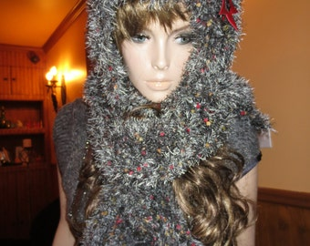 Scarf handmade knit knitted handmade star leather hood shawl grey red unique