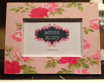 4x6 Frame Pink white Lightly Distressed shabby chic floral nursey little girl laura Ashley unique baby shower gift